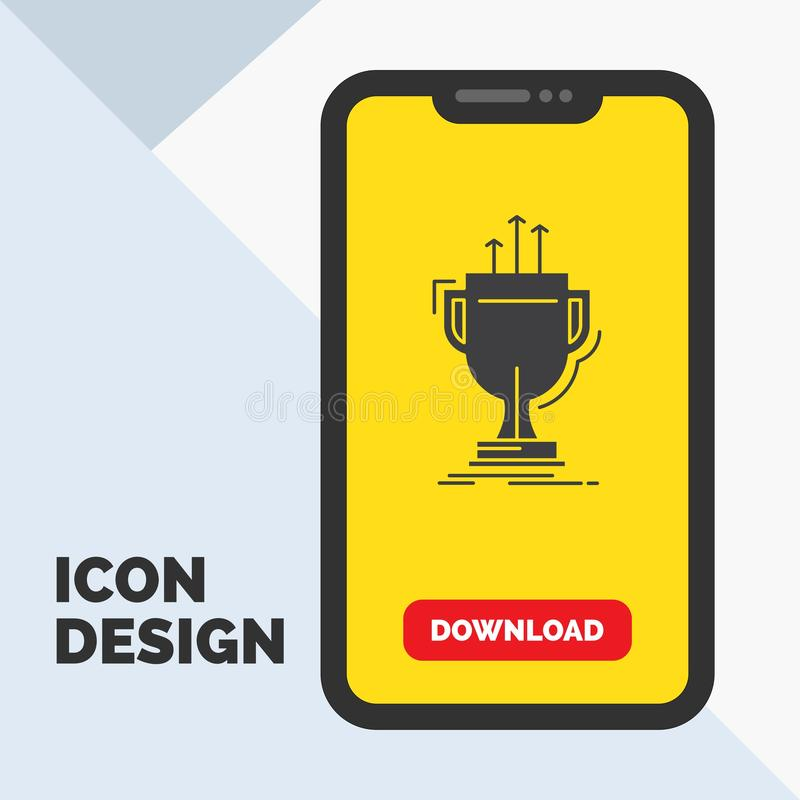 Award, competitive, cup, edge, prize Glyph Icon in Mobile for Download Page. Yellow Background. Vector EPS10 Abstract Template background stock illustration