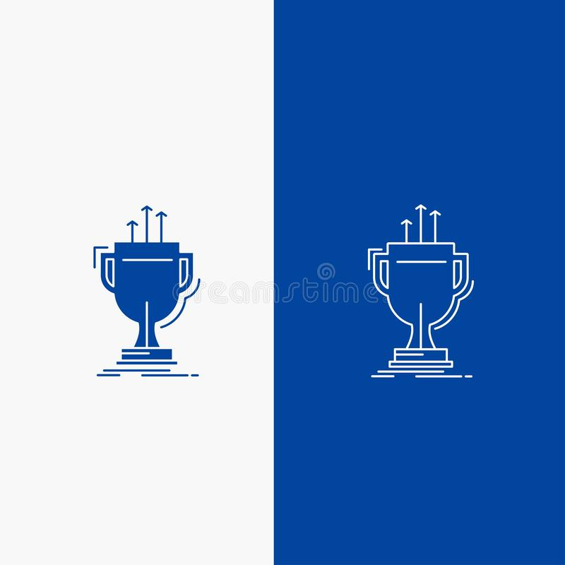 Award, competitive, cup, edge, prize Line and Glyph web Button in Blue color Vertical Banner for UI and UX, website or mobile. Application. Vector EPS10 stock illustration