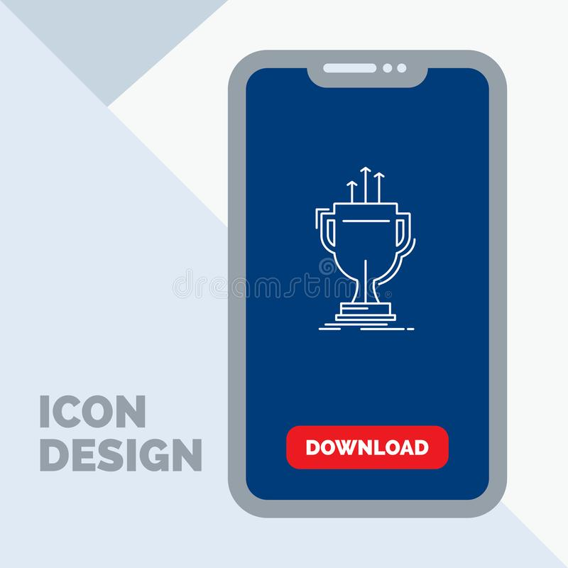 Award, competitive, cup, edge, prize Line Icon in Mobile for Download Page. Vector EPS10 Abstract Template background royalty free illustration