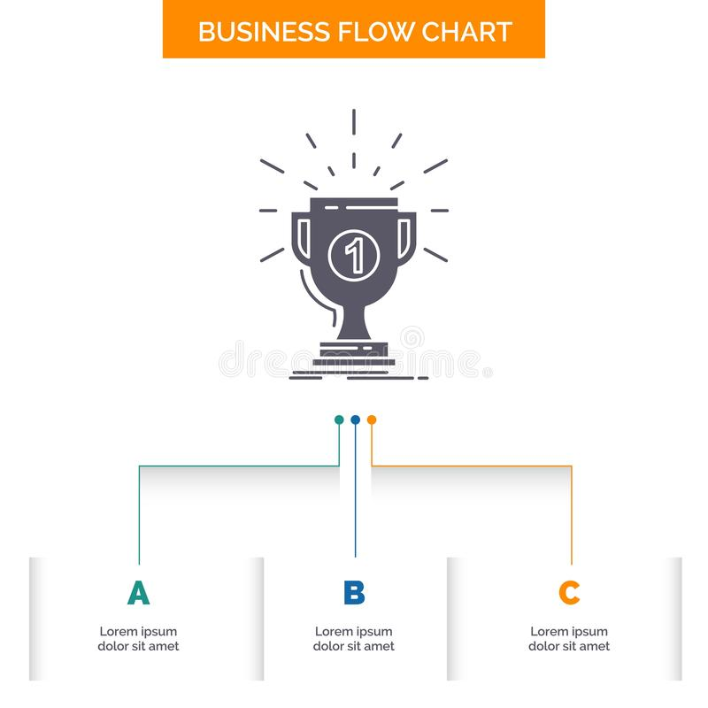 Award, cup, prize, reward, victory Business Flow Chart Design with 3 Steps. Glyph Icon For Presentation Background Template Place. For text.. Vector EPS10 stock illustration