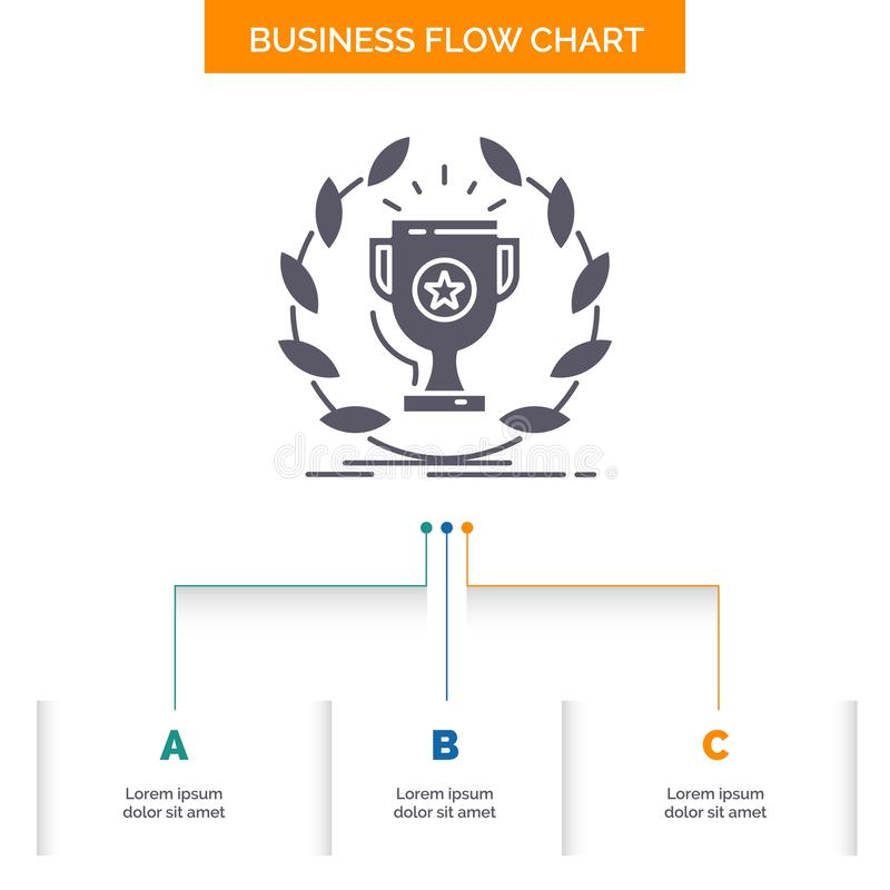Award, cup, prize, reward, victory Business Flow Chart Design with 3 Steps. Glyph Icon For Presentation Background Template Place. For text.. Vector EPS10 royalty free illustration