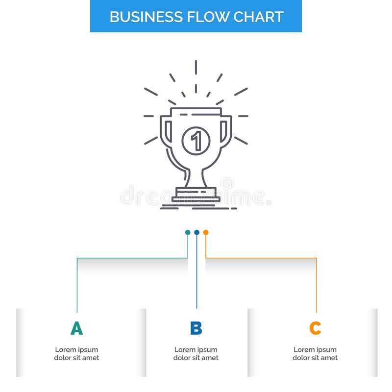 Award, cup, prize, reward, victory Business Flow Chart Design with 3 Steps. Line Icon For Presentation Background Template Place. For text. Vector EPS10 royalty free illustration