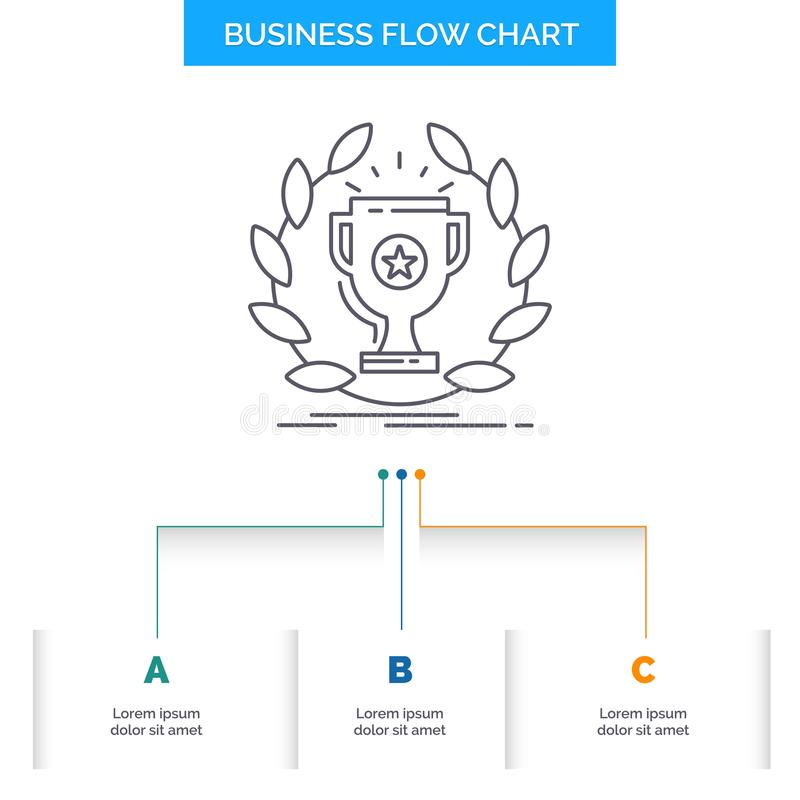 Award, cup, prize, reward, victory Business Flow Chart Design with 3 Steps. Line Icon For Presentation Background Template Place. For text. Vector EPS10 vector illustration