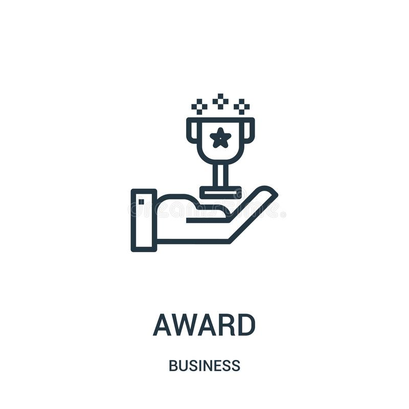 award icon vector from business collection. Thin line award outline icon vector illustration. Linear symbol for use on web and vector illustration