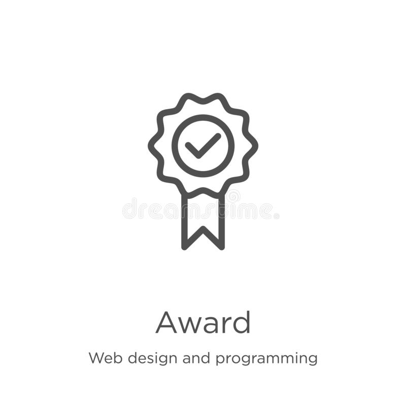 Award icon vector from web design and programming collection. Thin line award outline icon vector illustration. Outline, thin line. Award icon. Element of web stock illustration