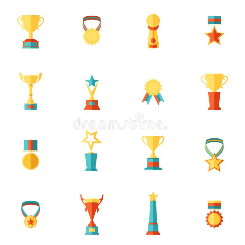 Award icons flat set of trophy medal winner prize champion cup isolated vector illustration stock illustration