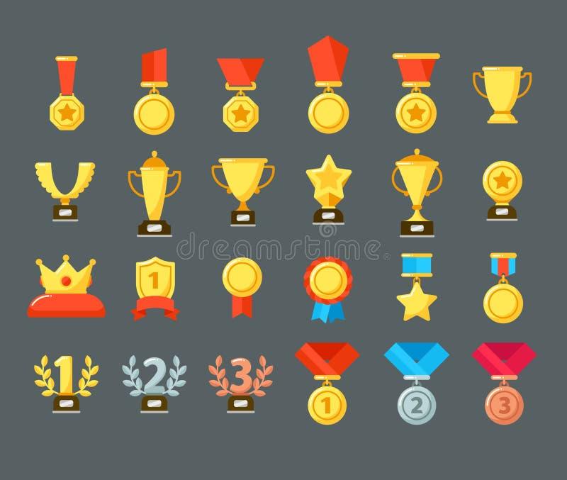 Award icons. Golden trophy cup, reward goblets and winning prize. Flat medals awards vector symbols royalty free illustration