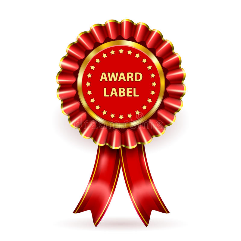 Award Label. Vector Red Award Label with ribbons and bow stock illustration