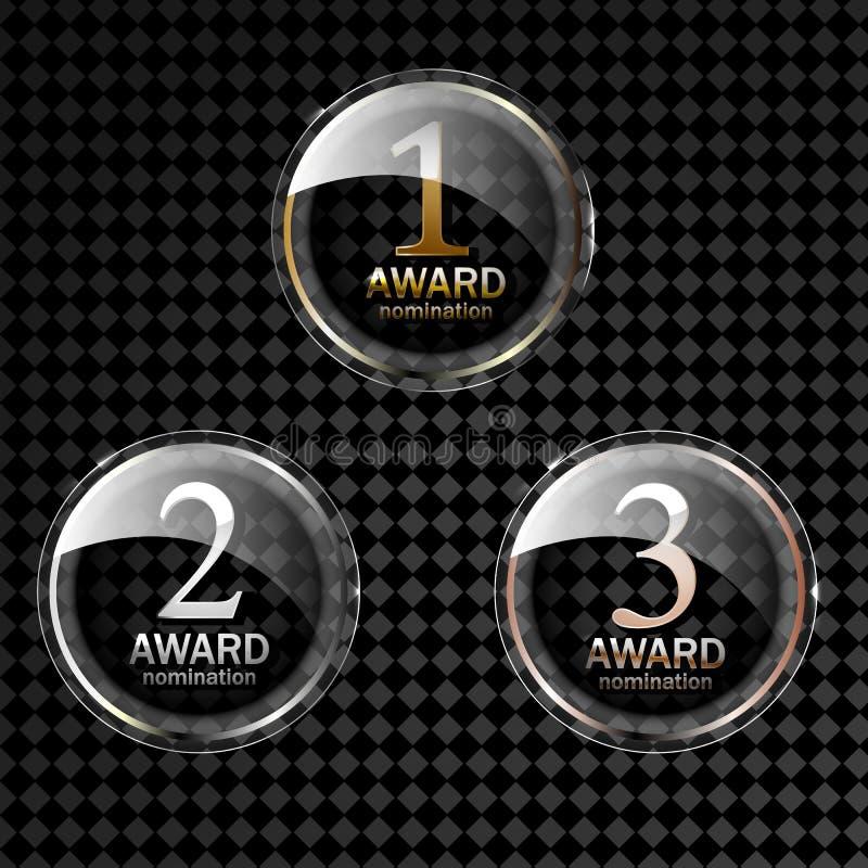 Award medal gold silver and bronze. Champion metal ward for winner. stock illustration