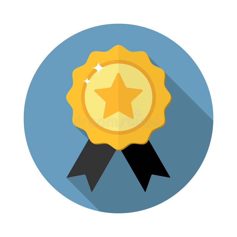 Award medal icon. Winner emblem symbol in flat style with long shadow, isolated stock illustration