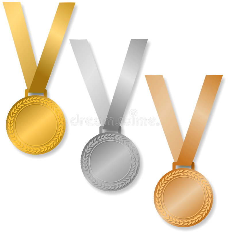 Award Medals/eps. Three Medals of Achievement..., gold, silver and bronze...inside area of medal can be personalized...eps available stock illustration