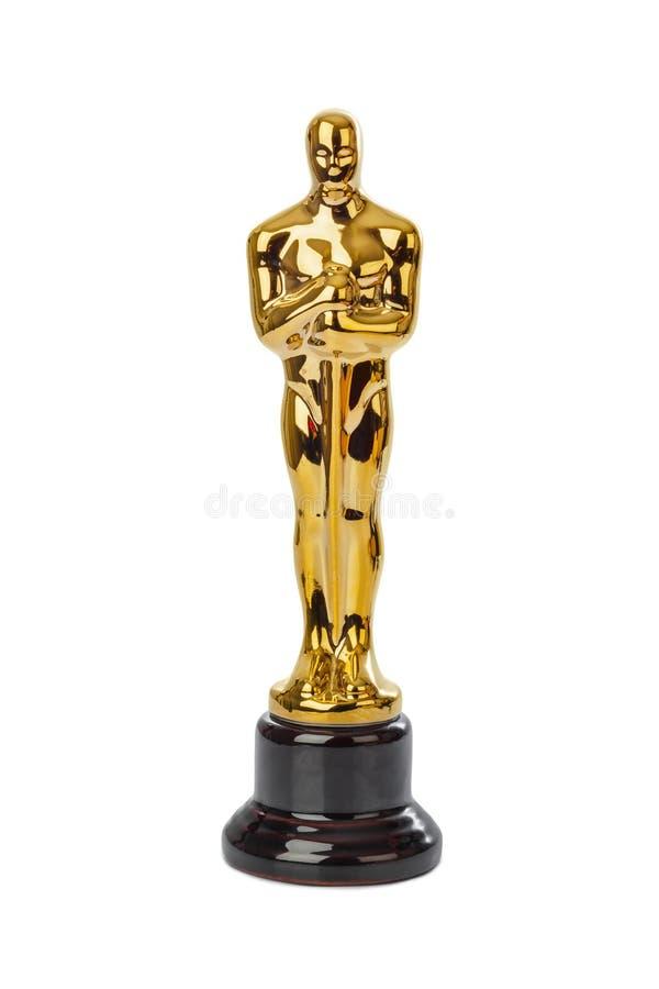 Award of Oscar ceremony. Isolated on white background royalty free stock image