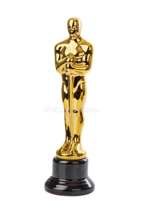 Award of Oscar ceremony. Isolated on white background royalty free stock images