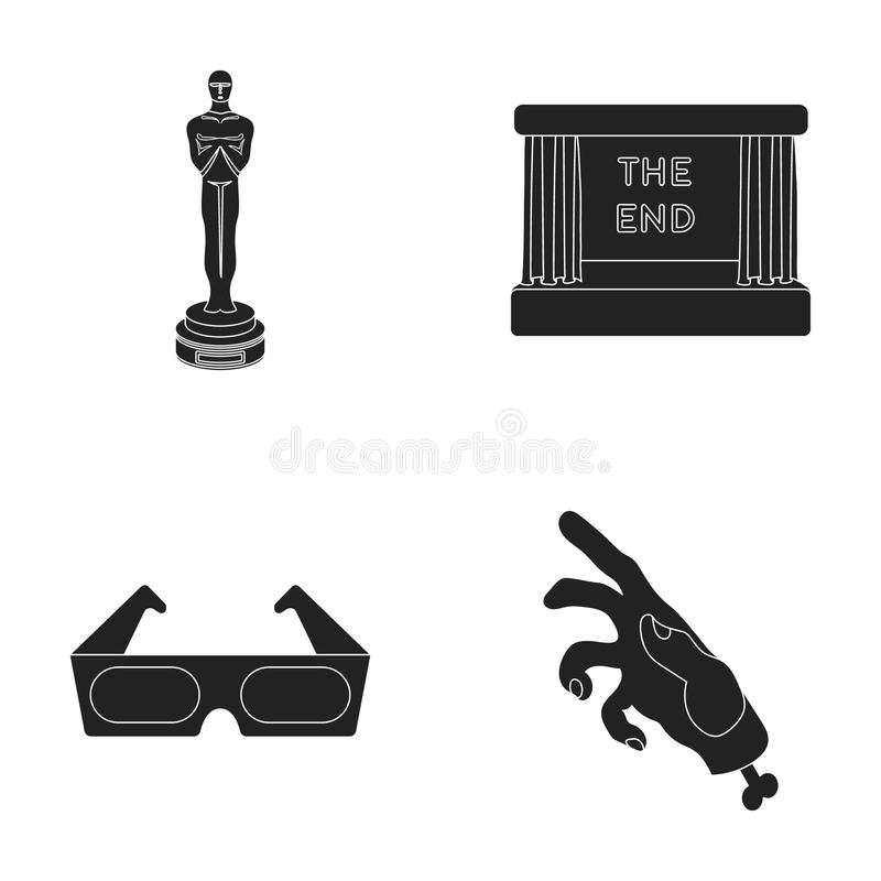 Award Oscar, movie screen, 3D glasses. Films and film set collection icons in black style vector symbol stock royalty free illustration