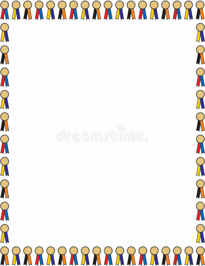 Award ribbon border. Decorative border or frame of small winner ribbons and medals around a large white blank space vector illustration