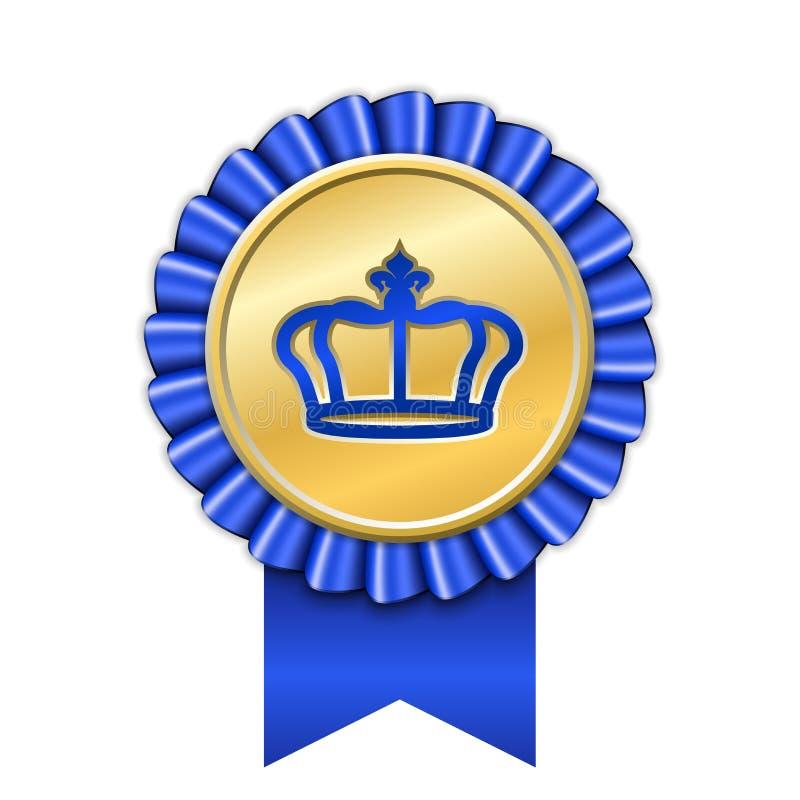 Award ribbon gold icon. Golden blue medal crown design isolated white background. Symbol winner celebration, best royalty free illustration