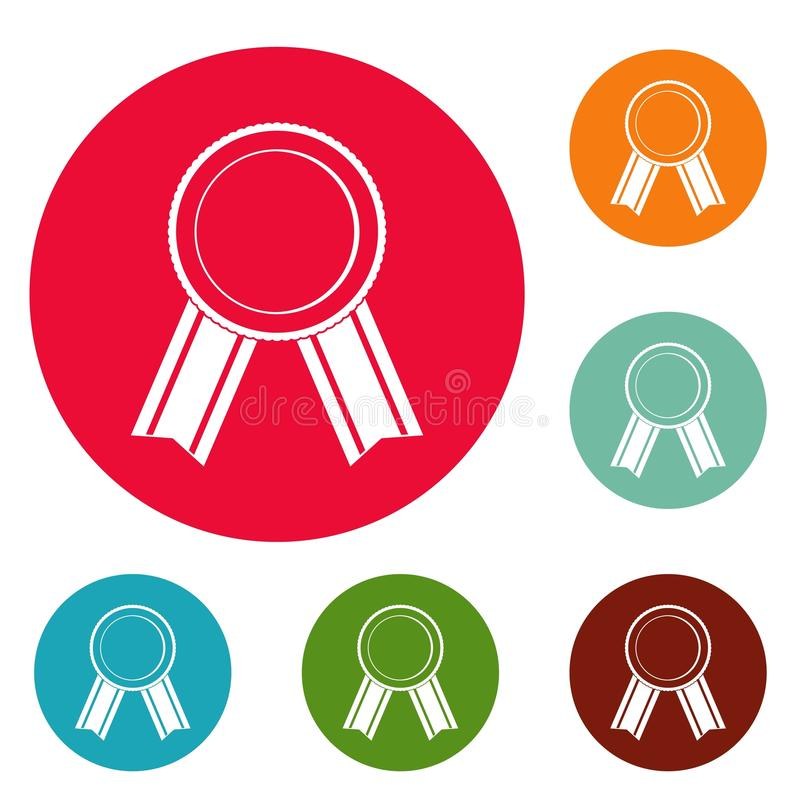 Award ribbon icons circle set vector stock illustration