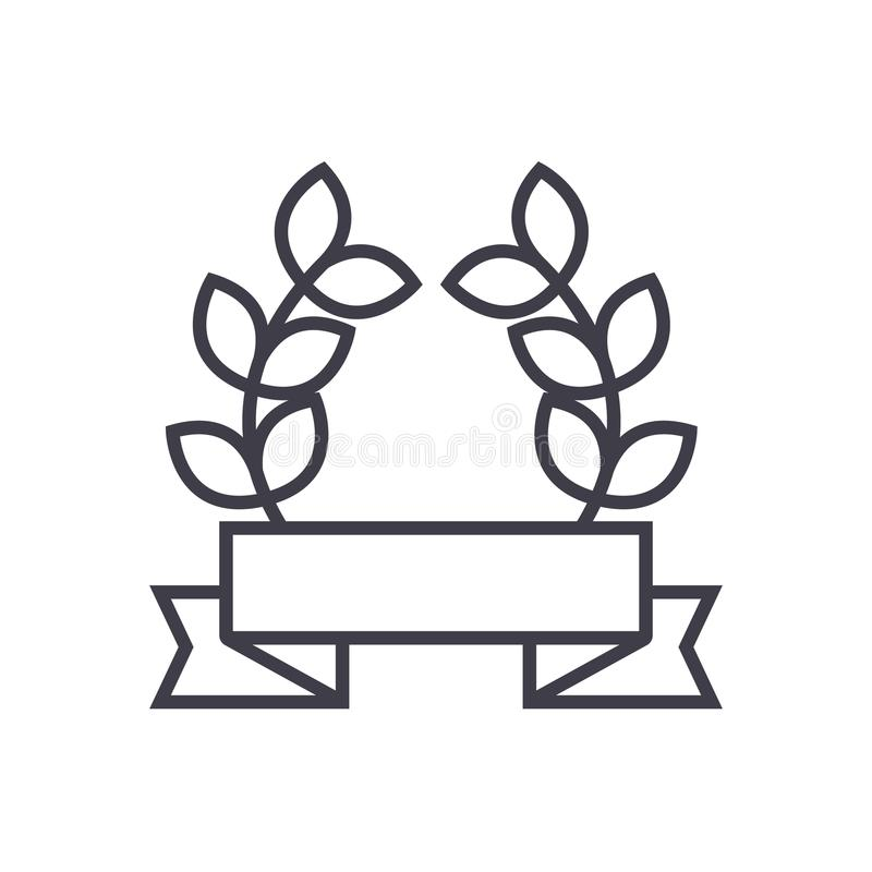 Award ribbon with leafs vector line icon, sign, illustration on background, editable strokes vector illustration