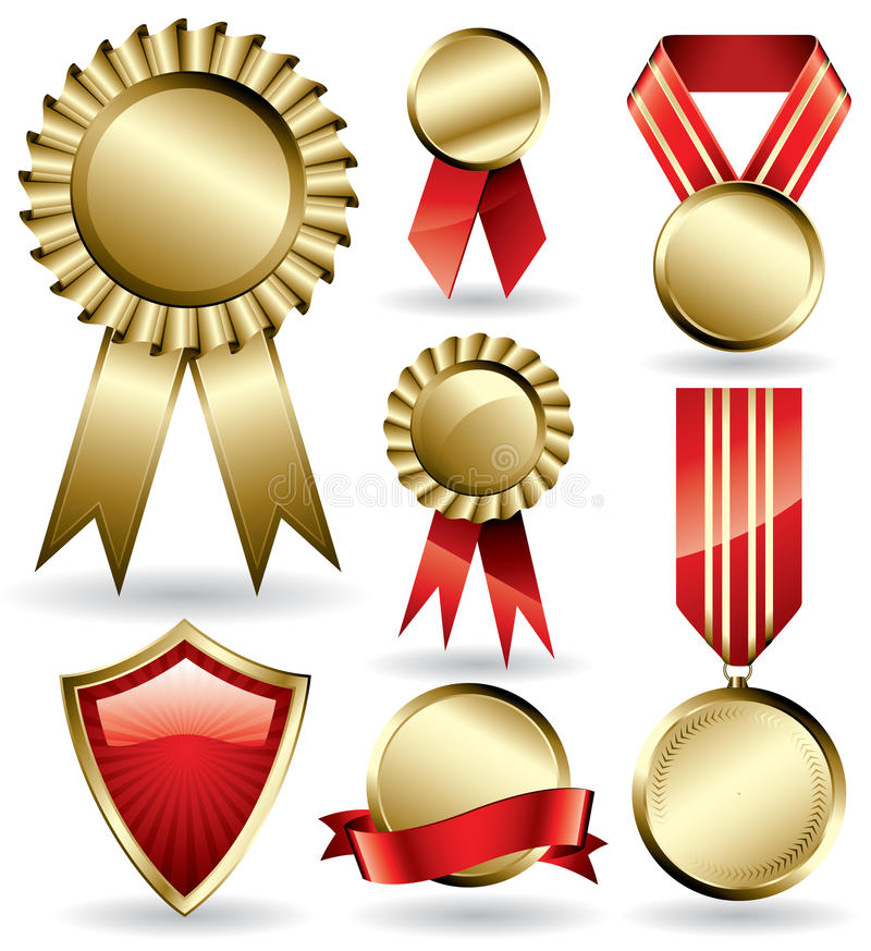 Award ribbons and medals stock illustration