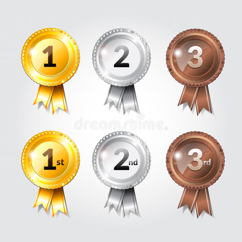 Download Award Ribbons With Place Numbers Illustration Design Stock Vector - Image: 83723102