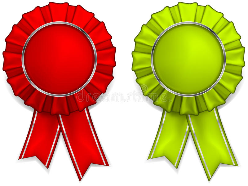 Award rosettes. Award red and green rosettes with medals and ribbons, illustration vector illustration