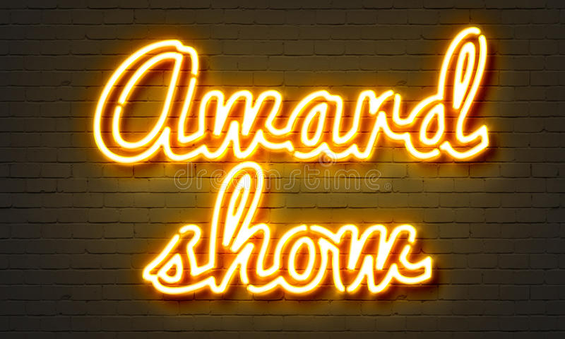 Award show neon sign on brick wall background. royalty free stock photos