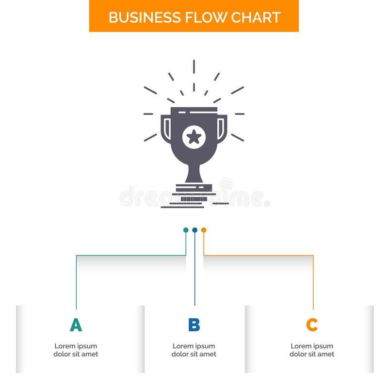 Award, trophy, prize, win, cup Business Flow Chart Design with 3 Steps. Glyph Icon For Presentation Background Template Place for. Text.. Vector EPS10 Abstract stock illustration