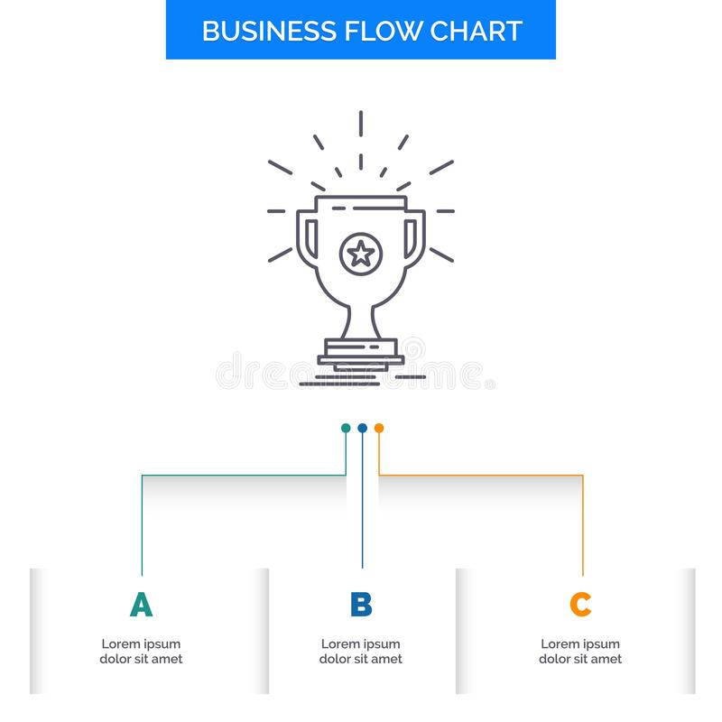 Award, trophy, prize, win, cup Business Flow Chart Design with 3 Steps. Line Icon For Presentation Background Template Place for. Text. Vector EPS10 Abstract stock illustration