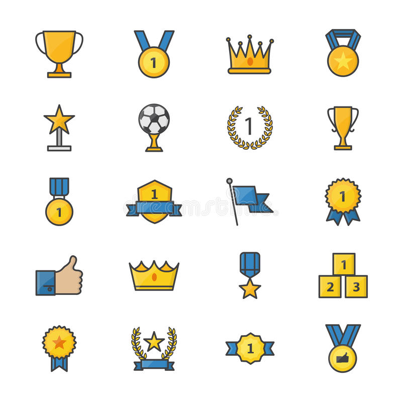 Award and Trophy Ribbon Best Set Of Winner Sport Abstract Vector Color Icon Style Colorful Flat Icons vector illustration