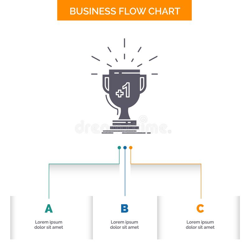 Award, trophy, win, prize, first Business Flow Chart Design with 3 Steps. Glyph Icon For Presentation Background Template Place. For text.. Vector EPS10 stock illustration