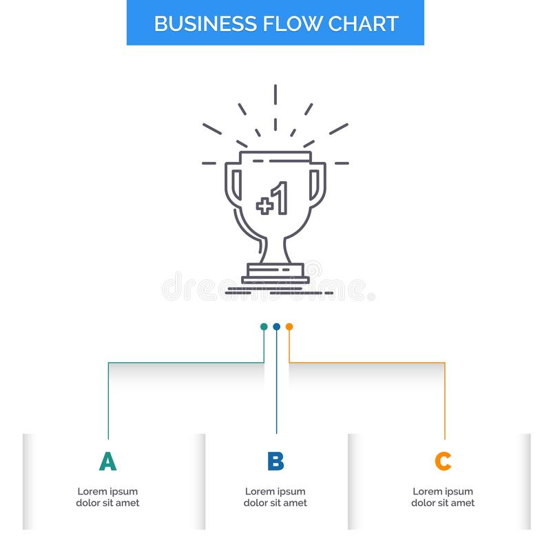 Award, trophy, win, prize, first Business Flow Chart Design with 3 Steps. Line Icon For Presentation Background Template Place for. Text. Vector EPS10 Abstract vector illustration