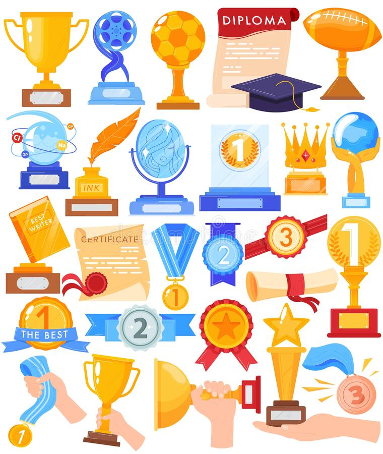 Free Award Trophy Winner Gold Cup Vector Illustration Set, Cartoon Flat Human Hands Holding Win Competition Golden Prize Royalty Free Stock Photos - 192207798