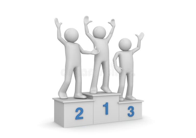 Awarding ceremony, winners on pedestal stock illustration