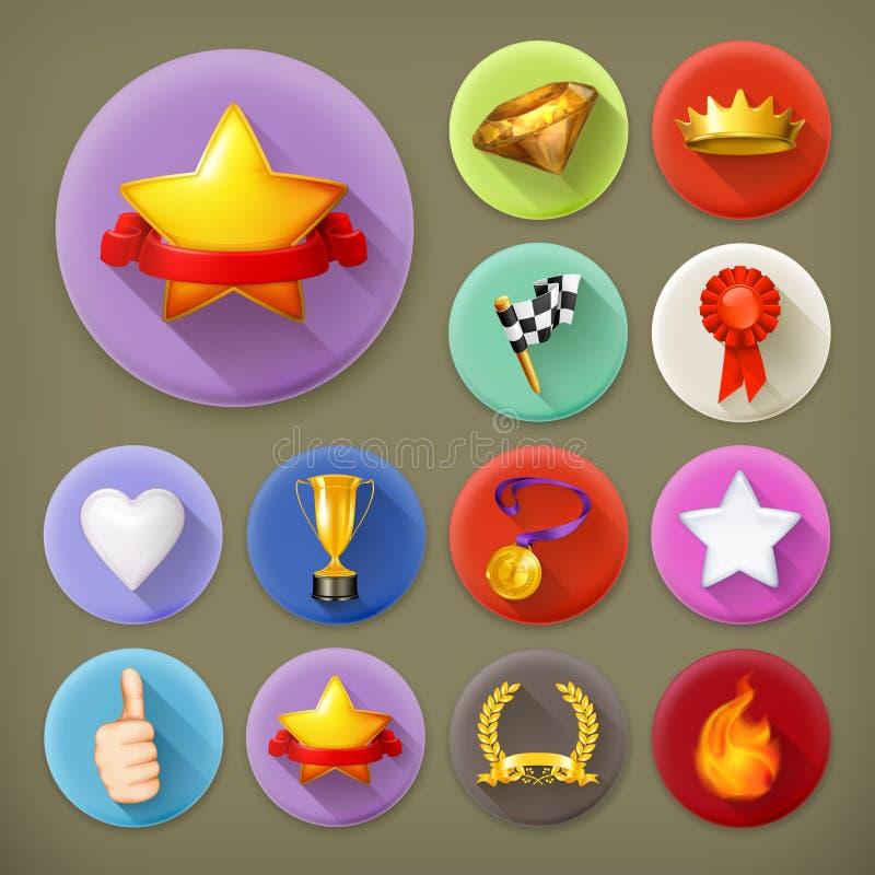 Awards and achievement, icon set stock illustration