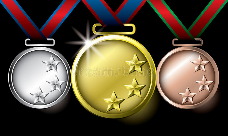 Download Awards As Medals - Gold, Silver And Bronze Stock Vector - Image: 25703513