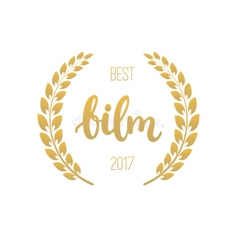 Awards of best film with wreath and 2017 text. Golden color cinema illustration isolated on the white background. Awards of best with wreath and 2017 text stock illustration