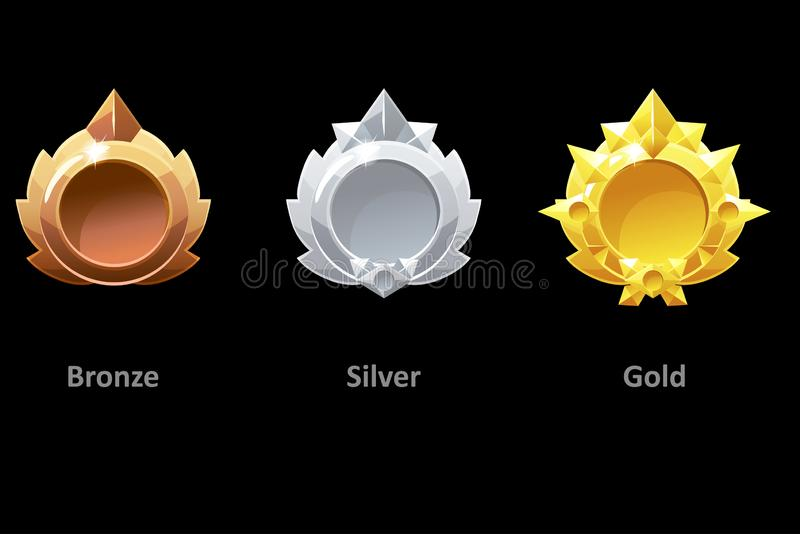 Awards medals gold, silver and bronze for Gui Game. Vector golden template award vector illustration