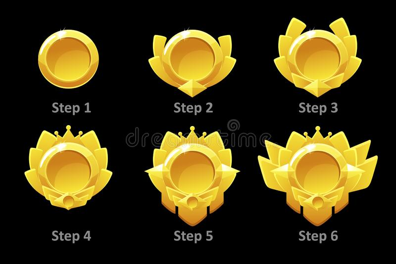 Awards medals for Gui Game. Vector golden template award in different versions stock illustration