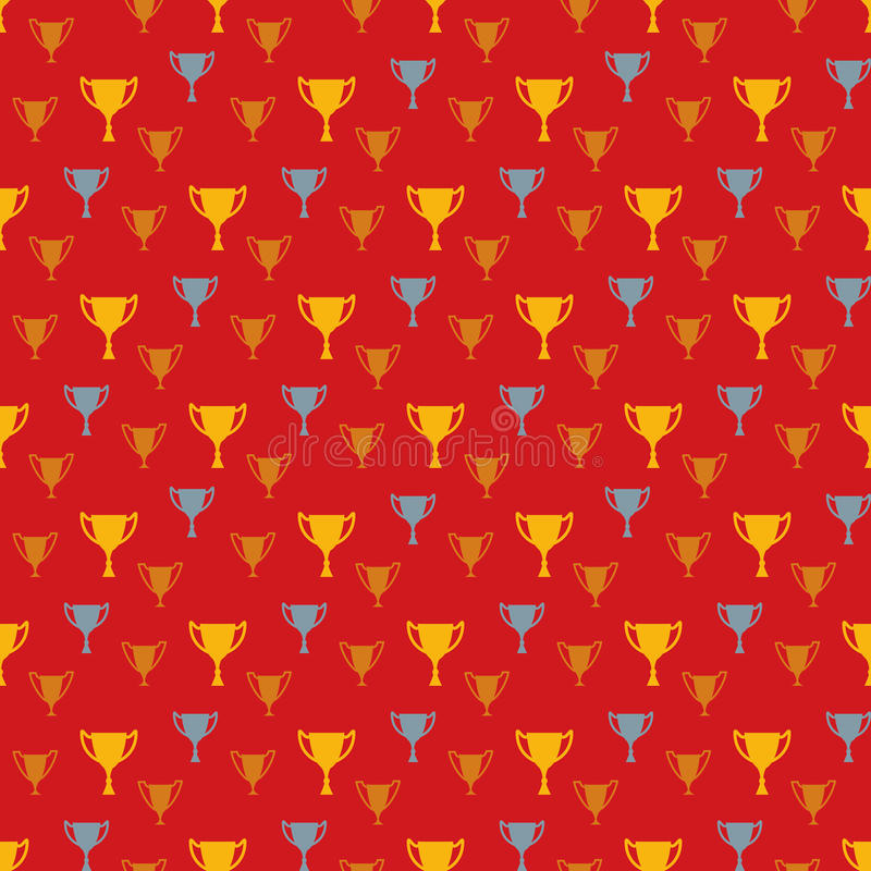 Awards seamless pattern with winner cups stock illustration
