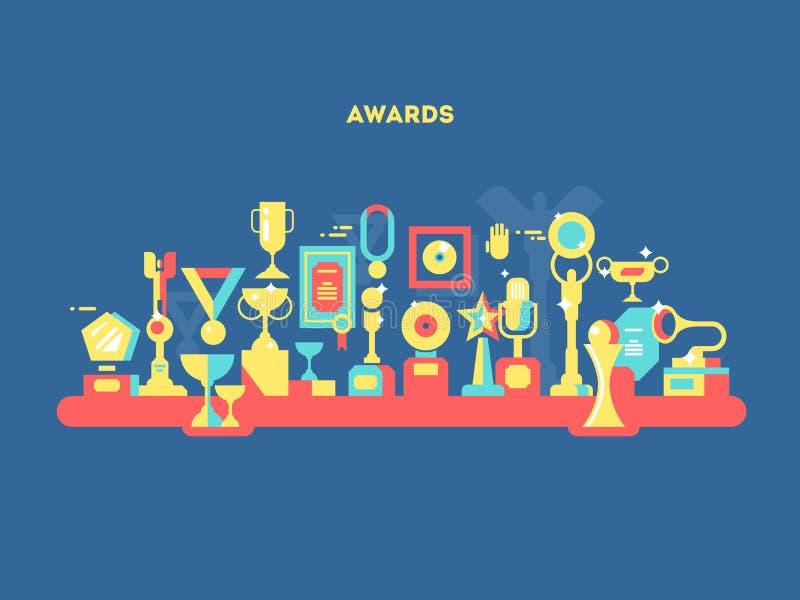 Awards set design flat vector illustration