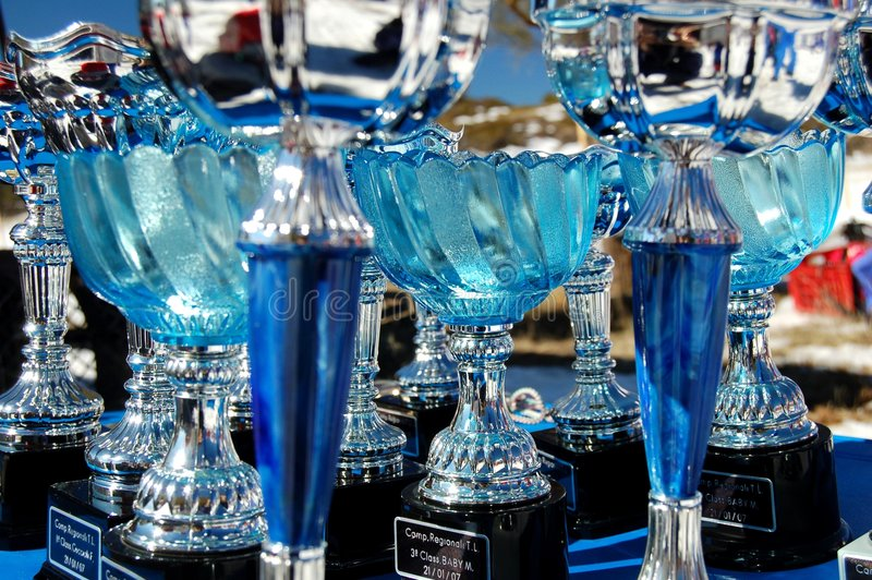 Awards on the snow !. Awards waiting to be assigned during a regional cross-country skiing competition on Etna vulcan in Sicily royalty free stock photography