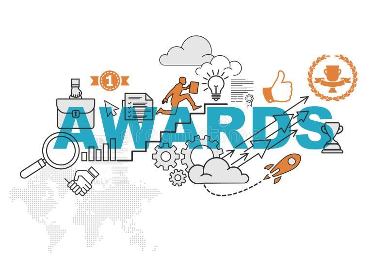 Awards website banner concept with thin line flat design vector illustration