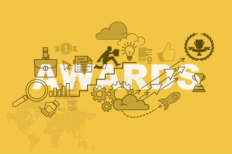 Awards website banner concept with thin line flat design stock illustration