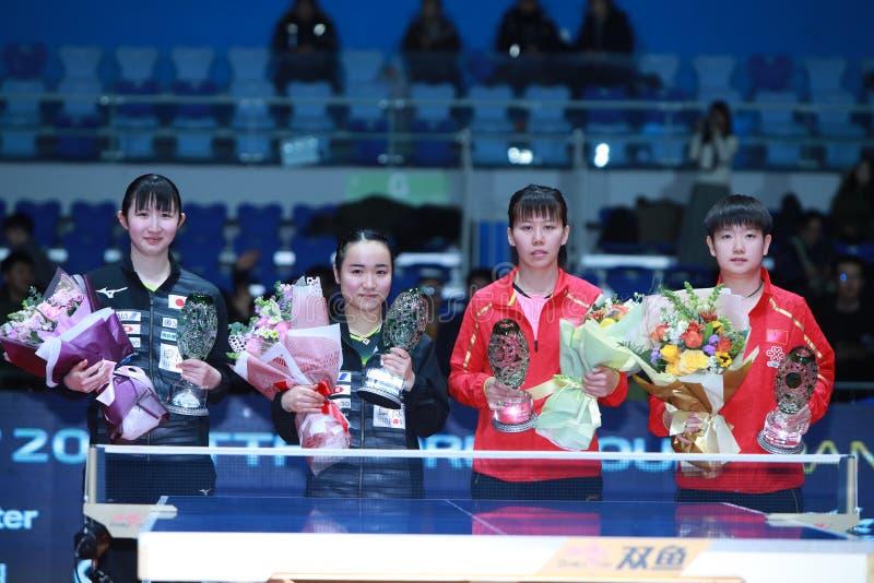 Awards Women`s Doubles. Women`s Doubles - Finals - Gold Medal Match, Hina HAYATA JPN and Mima ITO JPN beat CHEN Xingtong CHN and SUN Yingsha CHN 3/0 . 2018 Pro royalty free stock photo