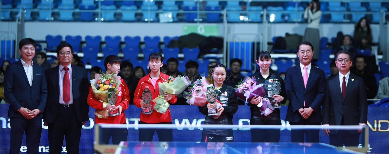 Awards Women`s Doubles. Women`s Doubles - Finals - Gold Medal Match, Hina HAYATA JPN and Mima ITO JPN beat CHEN Xingtong CHN and SUN Yingsha CHN 3/0 . 2018 Pro stock image