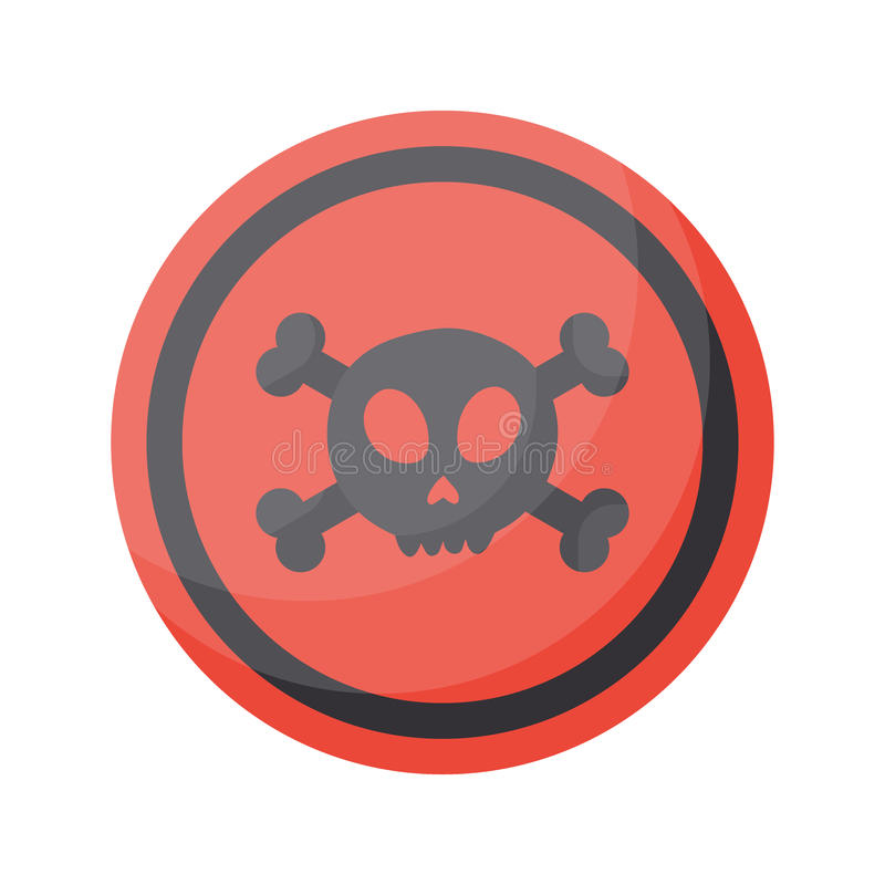 Aware sign flat icon. Flat design of danger alert round symbol with skull and crossbones isolated on the white background, cute illustration with reflection royalty free illustration