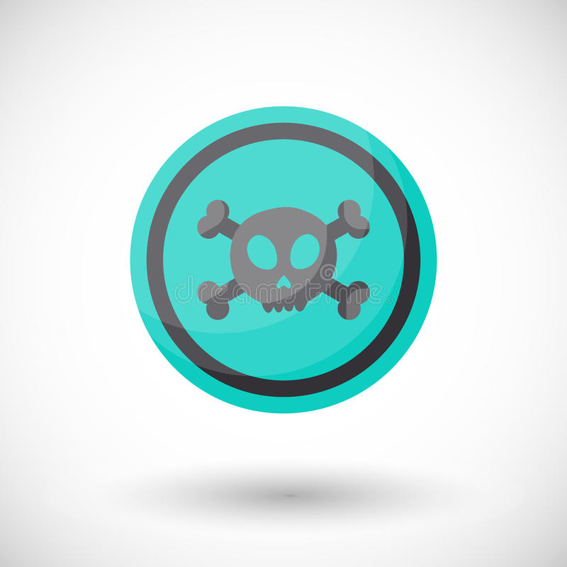 Aware sign flat icon. Flat design of danger alert round symbol with skull and crossbones isolated on the white background, cute illustration with reflection vector illustration