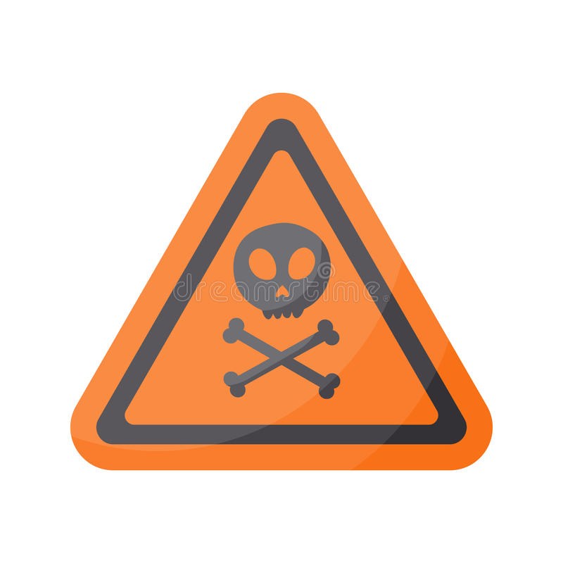 Aware sign flat icon. Flat design of danger alert triangle symbol with skull and crossbones isolated on the white background, cute illustration with reflection royalty free illustration