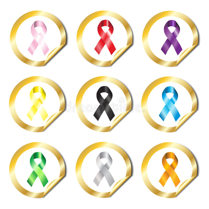 Awareness ribbon stickers stock image