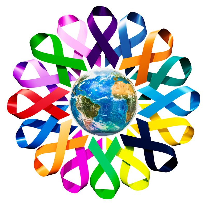 Awareness Ribbons with Earth Globe. 3D rendering stock illustration